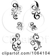 Clipart Flourish Scrolls In Black In White Digital Collage 14 Royalty Free Vector Illustration