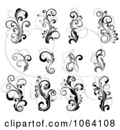 Flourish Scrolls In Black In White Digital Collage 25