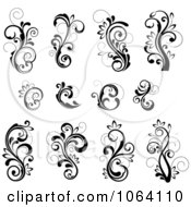 Flourish Scrolls In Black In White Digital Collage 26