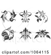 Clipart Gray Flourish Design Elements Digital Collage 3 Royalty Free Vector Illustration