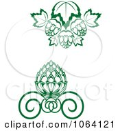 Clipart Green Floral Designs Digital Collage Royalty Free Vector Illustration