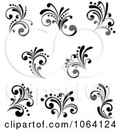Clipart Flourish Scrolls In Black In White Digital Collage 18 Royalty Free Vector Illustration