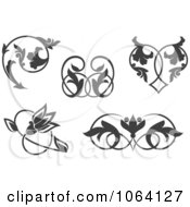 Clipart Gray Flourish Design Elements Digital Collage 2 Royalty Free Vector Illustration