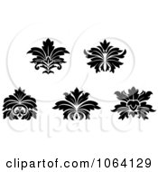 Clipart Black And White Flourishes Digital Collage Royalty Free Vector Illustration