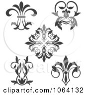 Clipart Gray Flourish Design Elements Digital Collage 1 Royalty Free Vector Illustration