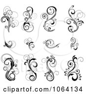 Flourish Scrolls In Black In White Digital Collage 21