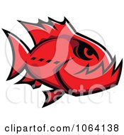 Clipart Red Piranha Fish Royalty Free Vector Illustration