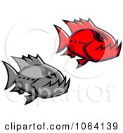 Clipart Piranha Fish Digital Collage Royalty Free Vector Illustration