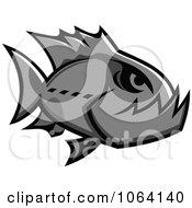 Clipart Gray Piranha Fish Royalty Free Vector Illustration