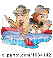 Clipart Boy And Girl Scout Boating With A Dog 1 Royalty Free Vector Illustration