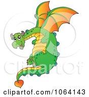 Clipart Green Dragon In Flight Royalty Free Vector Illustration