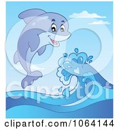 Clipart Dolphin Jumping Waves Royalty Free Vector Illustration