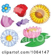 Clipart Flowers Digital Collage Royalty Free Vector Illustration by visekart