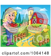 Clipart Female Apple Farmer With Chick And Barn Royalty Free Vector Illustration by visekart