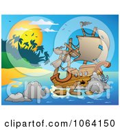 Clipart Tropical Island And Shipwreck Royalty Free Vector Illustration