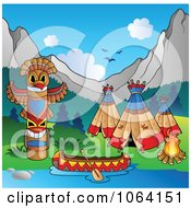 Clipart Canoe Totem Pole And Teepees At Camp Royalty Free Vector Illustration by visekart