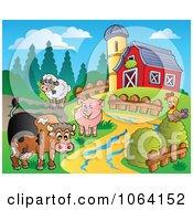 Clipart Barnyard Animal Scene 1 Royalty Free Vector Illustration