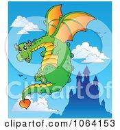 Clipart Dragon In Flight Near A Castle Royalty Free Vector Illustration