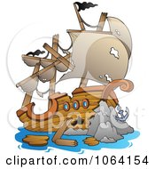 Clipart Wrecked Ship Royalty Free Vector Illustration by visekart