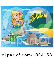 Clipart Pretty Mermaid On A Rock 2 Royalty Free Vector Illustration by visekart