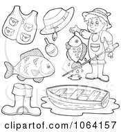 Clipart Outlined Fishing Items Digital Collage Royalty Free Vector Illustration