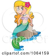 Clipart Pretty Mermaid On A Rock 1 Royalty Free Vector Illustration by visekart