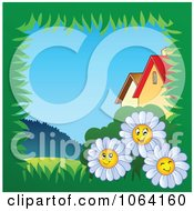 Clipart Grassy Daisy Frame By Houses Royalty Free Vector Illustration