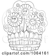 Clipart Outlined Daisies By A Fence Royalty Free Vector Illustration