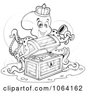 Clipart Outlined Octopus Discovering Treasure Royalty Free Vector Illustration