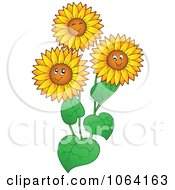 Clipart Happy Sunflowers Royalty Free Vector Illustration by visekart