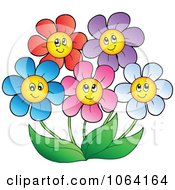 Clipart Happy Colorful Daisy Flowers 2 Royalty Free Vector Illustration by visekart #COLLC1064164-0161