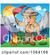 Clipart Camping Scout Boy Waving Red Flags Royalty Free Vector Illustration