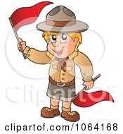 Clipart Scout Boy Waving Red Flags Royalty Free Vector Illustration