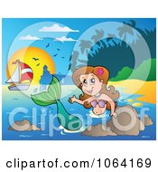 Clipart Friendly Mermaid Waving 2 Royalty Free Vector Illustration by visekart