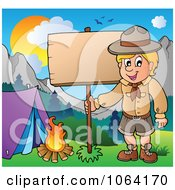 Clipart Camping Scout Boy With A Wood Sign Royalty Free Vector Illustration