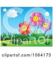 Clipart Colorful Happy Daisies Royalty Free Vector Illustration