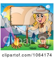 Clipart Camping Scout Girl With A Blank Sign Royalty Free Vector Illustration
