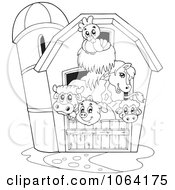 Clipart Outlined Barnyard Animals In A Barn Royalty Free Vector Illustration