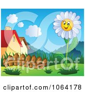 Clipart White Daisy In A Garden Near Houses Royalty Free Vector Illustration