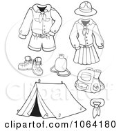 Clipart Outlined Scout Uniforms And Gear Digital Collage Royalty Free Vector Illustration