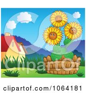 Clipart Sunflowers In A Garden Near Houses Royalty Free Vector Illustration by visekart