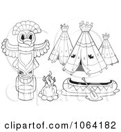 Clipart Outlined Native American Camp Items Royalty Free Vector Illustration