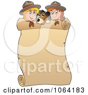 Clipart Scouts And A Dog With A Blank Scroll Royalty Free Vector Illustration