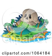 Clipart Skull Mountain Tropical Island Royalty Free Vector Illustration
