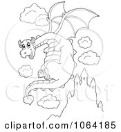 Clipart Outlined Dragon In Flight Royalty Free Vector Illustration