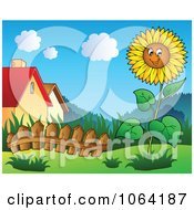 Clipart Sunflower In A Garden Near Houses Royalty Free Vector Illustration by visekart