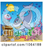 Clipart Snorkel Shark Fish And Treasure Chest Royalty Free Vector Illustration