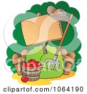 Clipart Bushel Of Apples Pitchfork And Blank Sign Royalty Free Vector Illustration