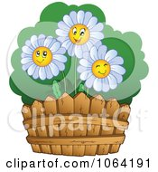 Clipart Happy Daisies By A Fence Royalty Free Vector Illustration by visekart