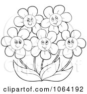 Clipart Outlined Daisies Royalty Free Vector Illustration